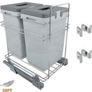 Система для утилизации мусора (2 ведра по 24 литра), направл. плавн. закр.