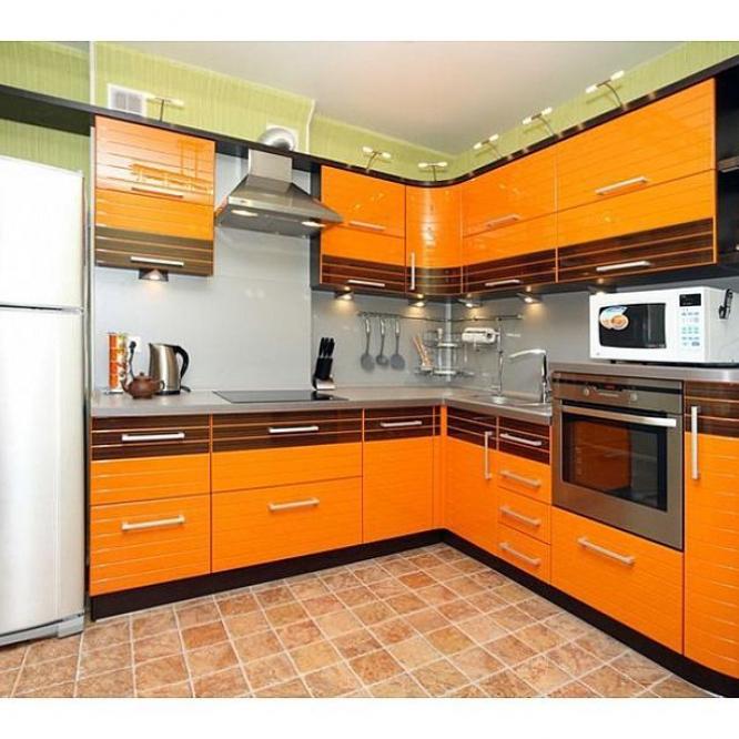 Шпон венге + оранжевая эмаль