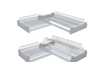 Сушилка для посуды угловая 2-х уровневая с поддоном, хром