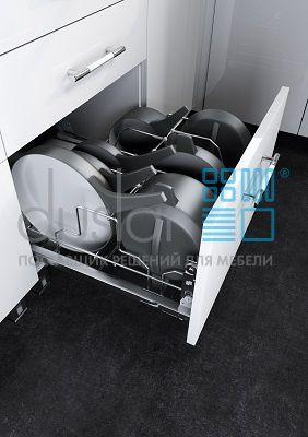 Выдвижная система Padella для хранения сковородок с фасадным креплением, ширина фасада 600 мм
